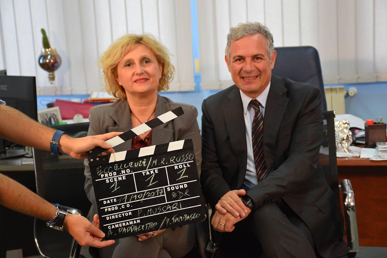 Mariarosaria Russo e Piero Muscari sul set di Eccellenze Italiane