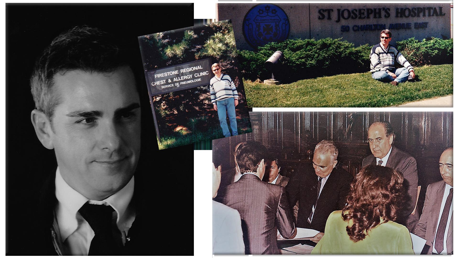 Mauro Minelli durante il campus MacMaster e durante la laurea