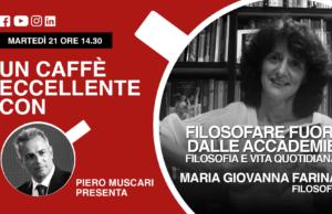 Un caffè eccellente con…Maria Giovanna Farina.. Live 21 Aprile sui nostri social